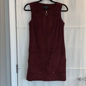 Laundry by Shelli Segal Maroon Velour Zipper Dress